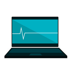 Computer laptop with cardiology application vector