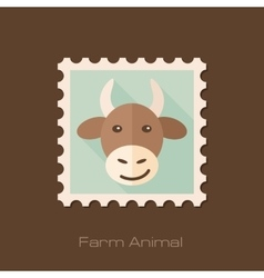 Cow flat stamp animal head vector