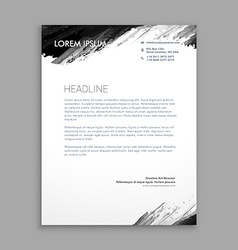 Creative black ink letterhead design vector