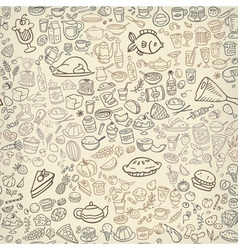 doodle food icons seamless background vector image vector image