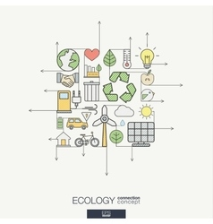 Ecology integrated thin line symbols modern color vector