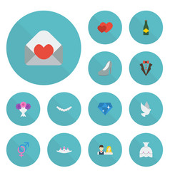 Flat icons fizz couple jewelry and other vector