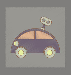 Flat shading style icon kids car with key vector