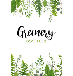 floral greenery card design with forest green leaf vector image
