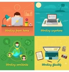 Freelance flat set vector