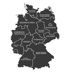 Germany map with labels black vector