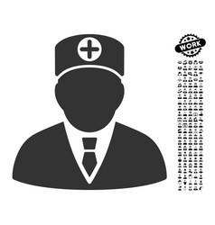 Head physician icon with job bonus vector