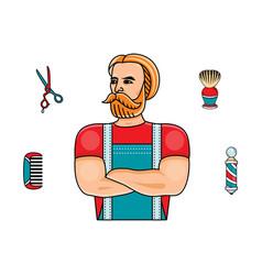 hipster man barber shop symbols set vector image