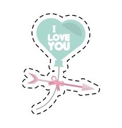 I love hearts arrow flying card cut line vector