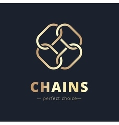 minimalistic chain flower golden logo vector image