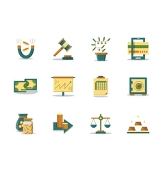 Money making flat color icons set vector image