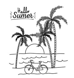 Monochrome poster of hello summer with landscape vector
