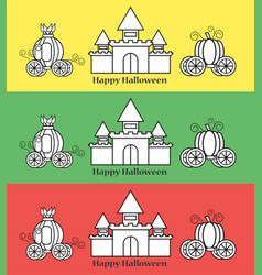 pumpkin carriage with castle for halloween vector image vector image