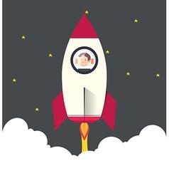Rocketship on computer for startup media vector image
