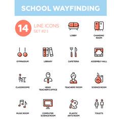 School wayfinding - modern simple icons vector