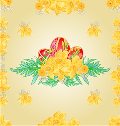 Seamless texture Easter eggs and daffodils vector image vector image
