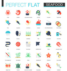set of flat seafood icons vector image vector image
