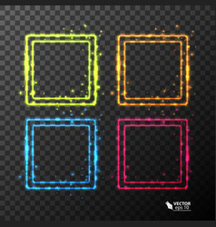Set of neon frames with different color vector