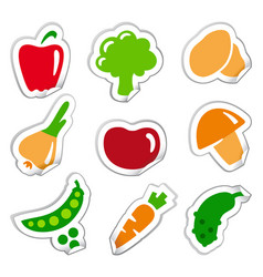stickers of vegetables vector image vector image