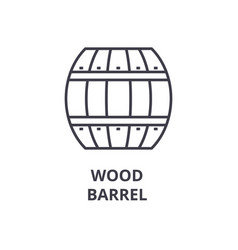 wood barrel line icon outline sign linear symbol vector image
