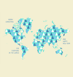 world map with triangle pattern vector image vector image