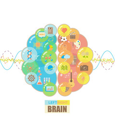 Left and right brain bubbles concept vector