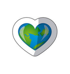 color earth planet heart icon vector image