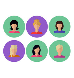 Image of female faces flat vector