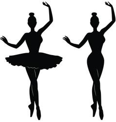 Woman ballet dancer silhouette vector