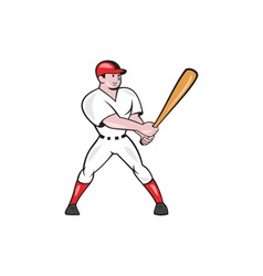 Baseball hitter batting isolated cartoon vector
