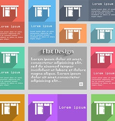 Table icon sign Set of multicolored buttons Metro vector image
