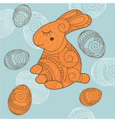 Background with rabbit and eggs vector