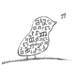 Bird with musical notes inside vector