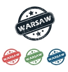 Round Warsaw city stamp set vector image