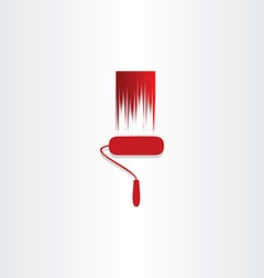 Red paint roller abstract icon vector