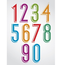 Colorful comic animated narrow numbers with white vector