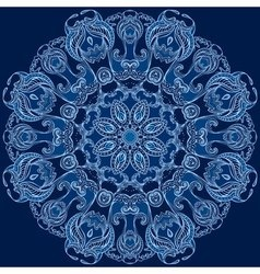 Round floral design blue snowflake vector