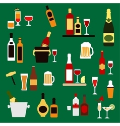 Drinks beverages and alcohol cocktails flat icons vector