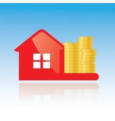 Red glance house and golden coins icon vector