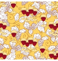 Seamless pattern with grapes and wine glass vector