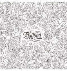 Cartoon doodles fast food frame design vector