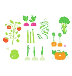 Smiling veggies set vector