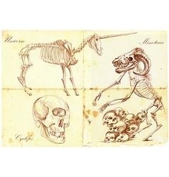 An hand drawn unicorn cyclops minotaur vector
