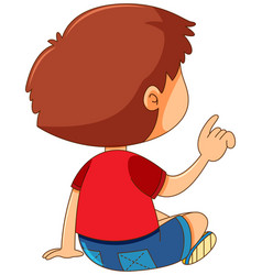 back of boy pointing finger vector image vector image