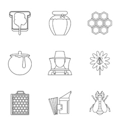 Beekeeping icons set outline style vector