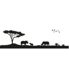 black silhouette of rhinoceroses in savannah vector image vector image