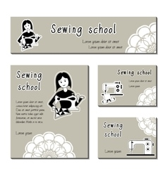 Black-white cards template for sewing vector image