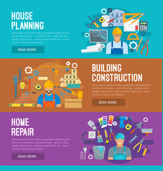 Building industry banner set design vector