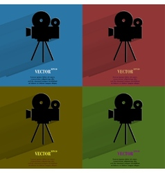 Color set Videocamera Flat modern web button with vector image