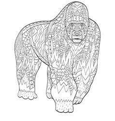 Coloring gorilla animal for adults vector